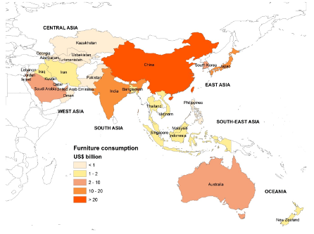 furniture consumption in Asia and Pacific